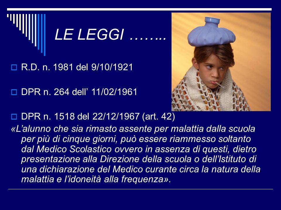 LE LEGGI …….. R.D. n. 1981 del 9/10/1921 DPR n. 264 dell 11/02/1961 DPR n. 1518 del 22/12/1967 (art. 42) «Lalunno che sia rimasto assente per malattia