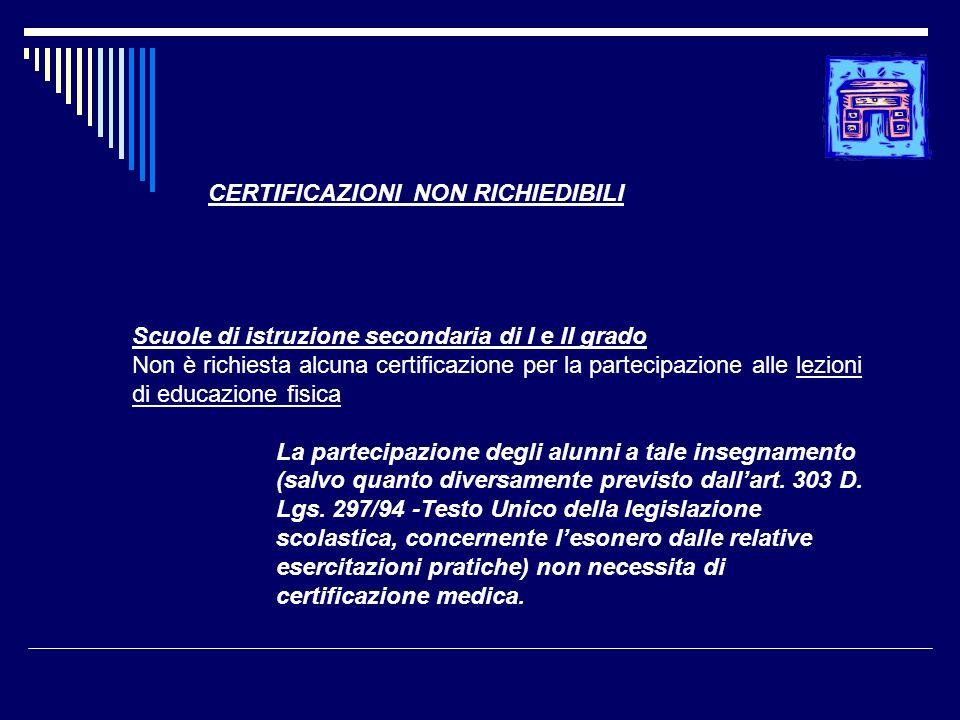 Scuole di istruzione secondaria di I e II grado Non è richiesta alcuna certificazione per la partecipazione alle lezioni di educazione fisica La parte
