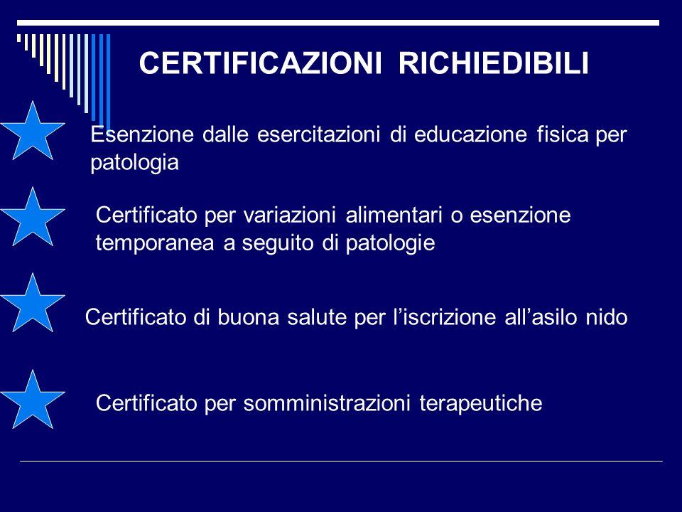 CERTIFICAZIONI RICHIEDIBILI Esenzione dalle esercitazioni di educazione fisica per patologia Certificato per variazioni alimentari o esenzione tempora