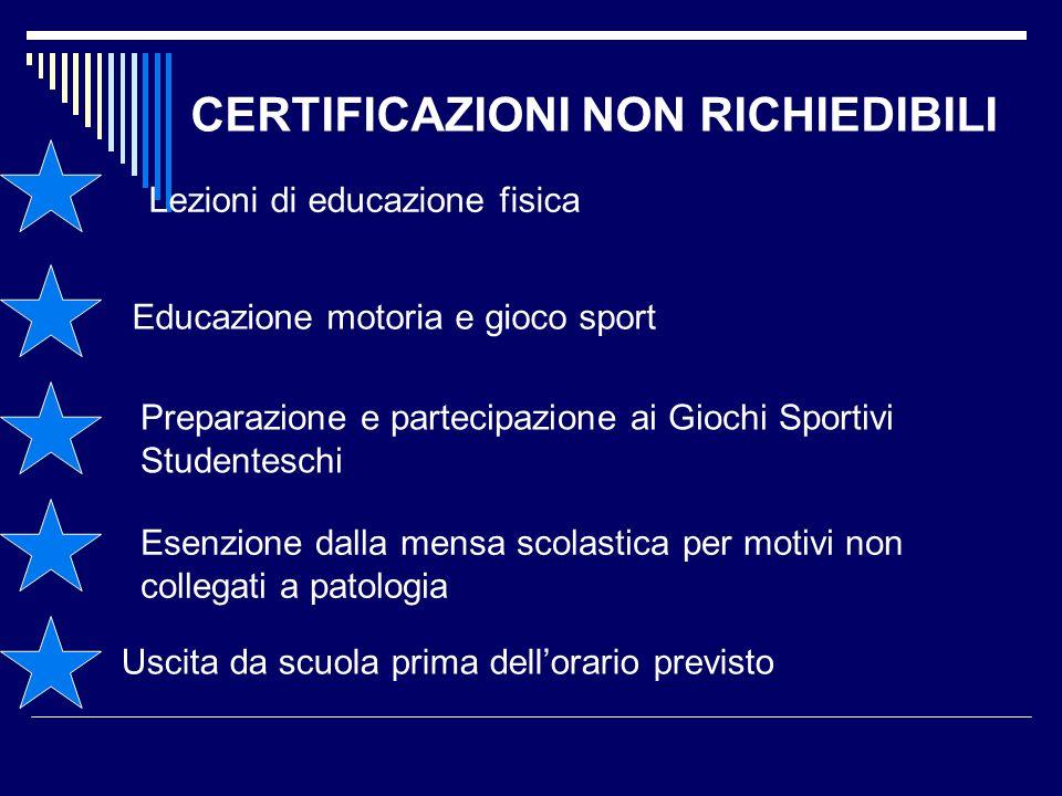 CERTIFICAZIONI NON RICHIEDIBILI Lezioni di educazione fisica Educazione motoria e gioco sport Preparazione e partecipazione ai Giochi Sportivi Student