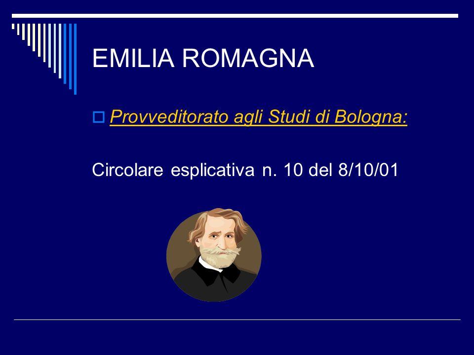 EMILIA ROMAGNA Provveditorato agli Studi di Bologna: Circolare esplicativa n. 10 del 8/10/01
