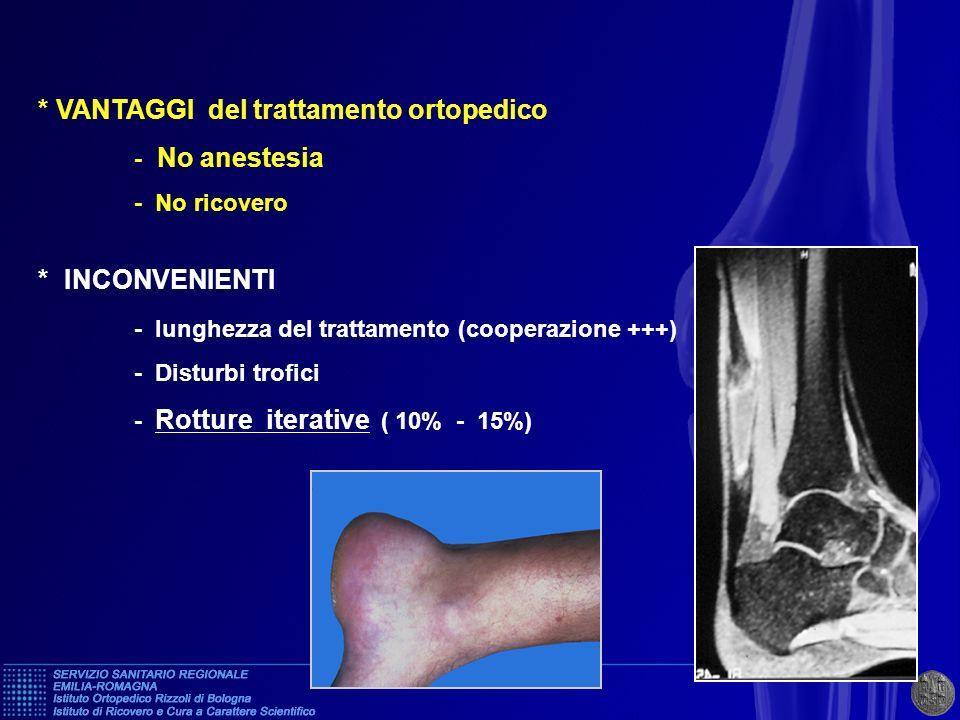 * VANTAGGI del trattamento ortopedico - No anestesia - No ricovero * INCONVENIENTI - lunghezza del trattamento (cooperazione +++) - Disturbi trofici -