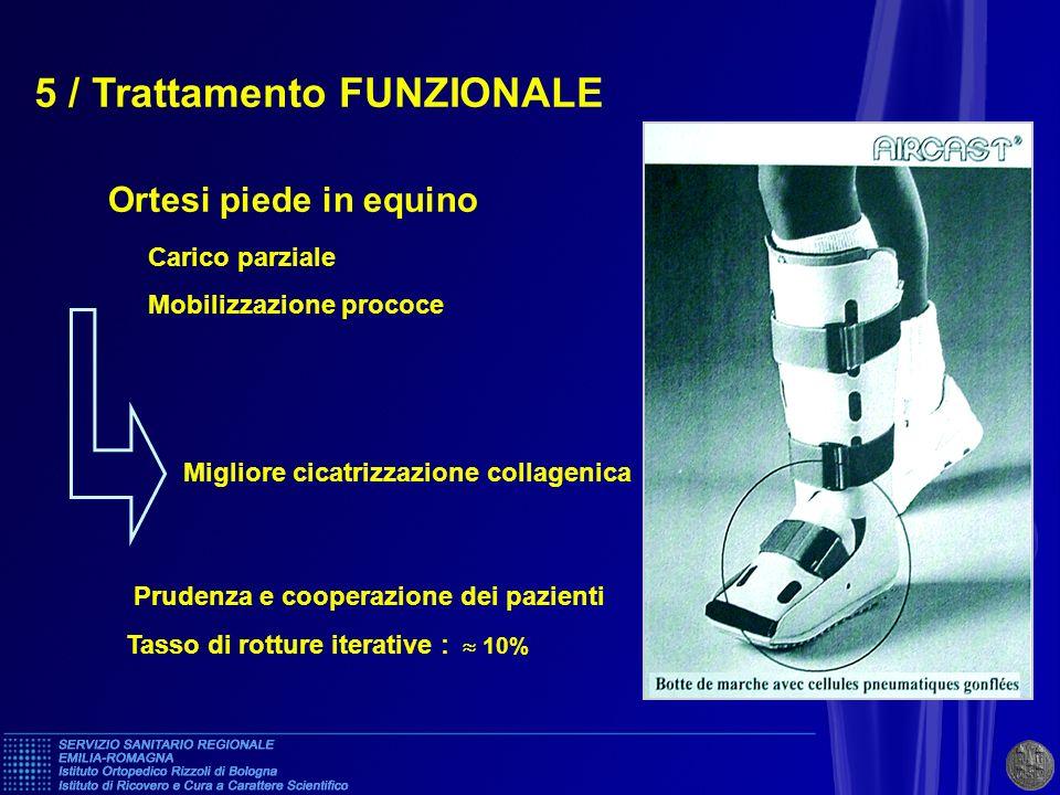 5 / Trattamento FUNZIONALE Ortesi piede in equino Carico parziale Mobilizzazione prococe Prudenza e cooperazione dei pazienti Tasso di rotture iterati