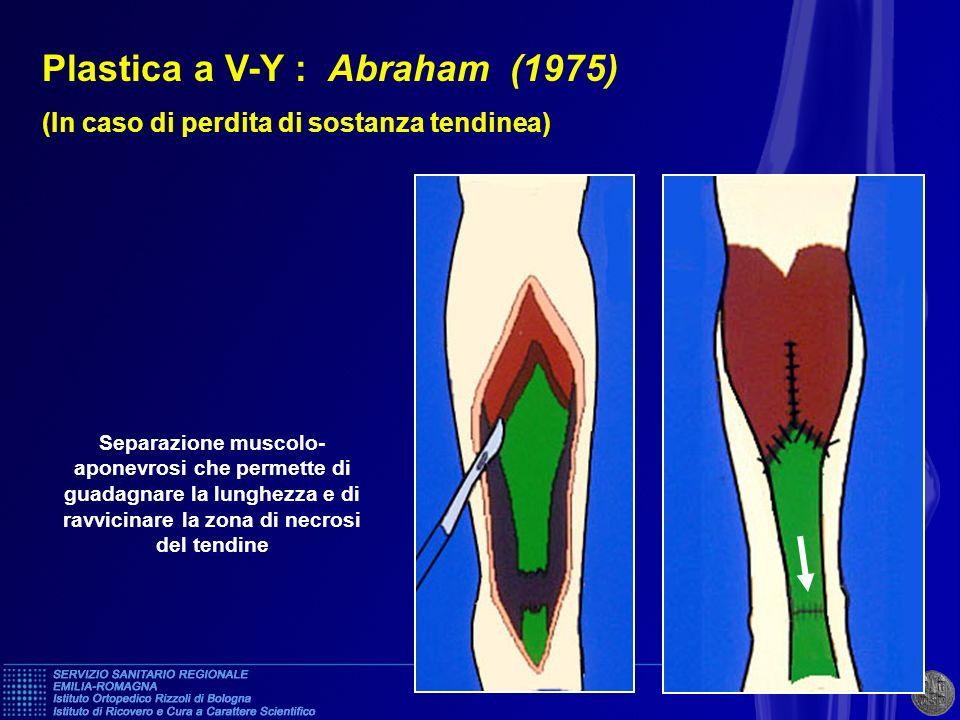 Plastica a V-Y : Abraham (1975) (In caso di perdita di sostanza tendinea) Separazione muscolo- aponevrosi che permette di guadagnare la lunghezza e di