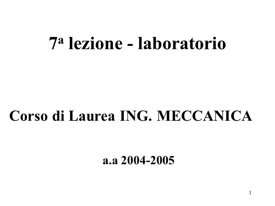 1 7 a lezione - laboratorio a.a 2004-2005 Corso di Laurea ING. MECCANICA