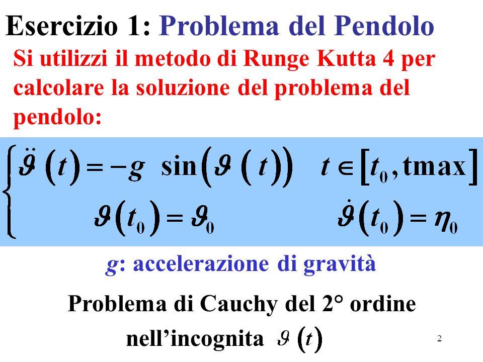 2 Si utilizzi il metodo di Runge Kutta 4 per calcolare la soluzione del problema del pendolo: Esercizio 1: Problema del Pendolo Problema di Cauchy del
