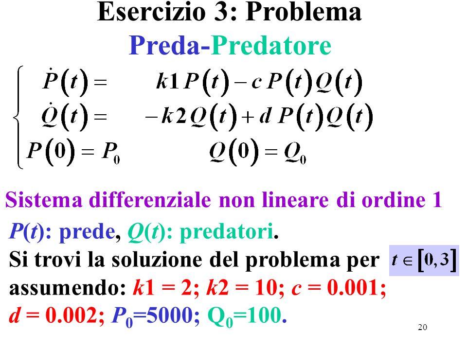 20 Sistema differenziale non lineare di ordine 1 Esercizio 3: Problema Preda-Predatore P(t): prede, Q(t): predatori. Si trovi la soluzione del problem