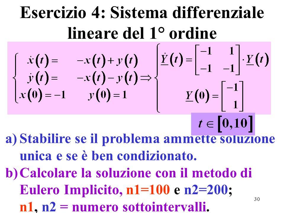 30 Esercizio 4: Sistema differenziale lineare del 1° ordine a)Stabilire se il problema ammette soluzione unica e se è ben condizionato. b)Calcolare la