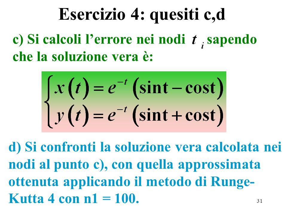 31 c) Si calcoli lerrore nei nodi sapendo che la soluzione vera è: d) Si confronti la soluzione vera calcolata nei nodi al punto c), con quella appros