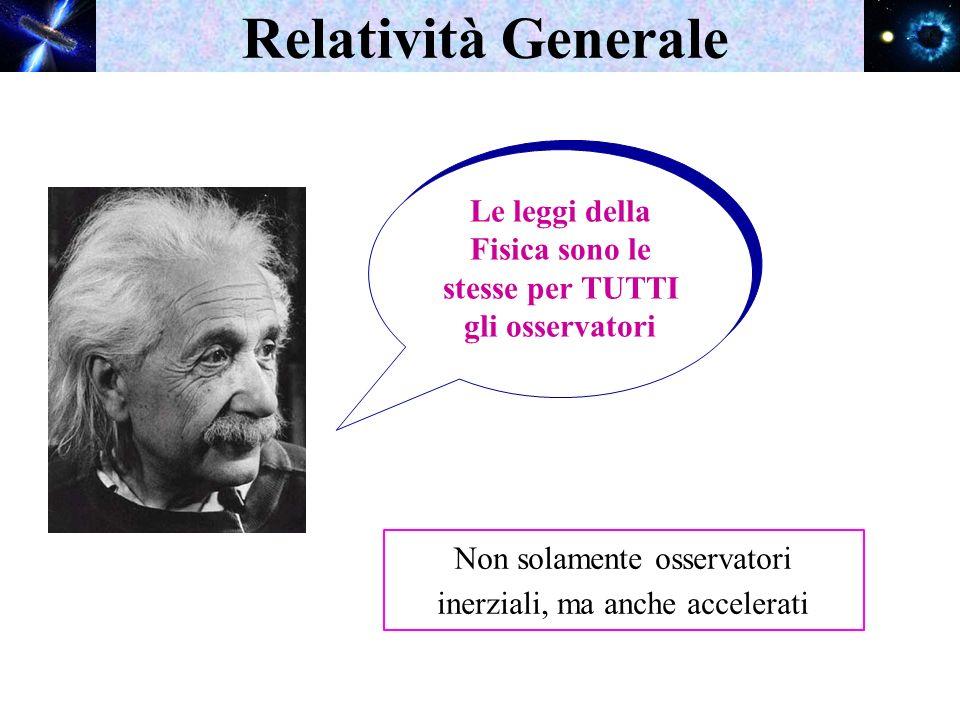 Relatività Generale Le leggi della Fisica sono le stesse per TUTTI gli osservatori Non solamente osservatori inerziali, ma anche accelerati