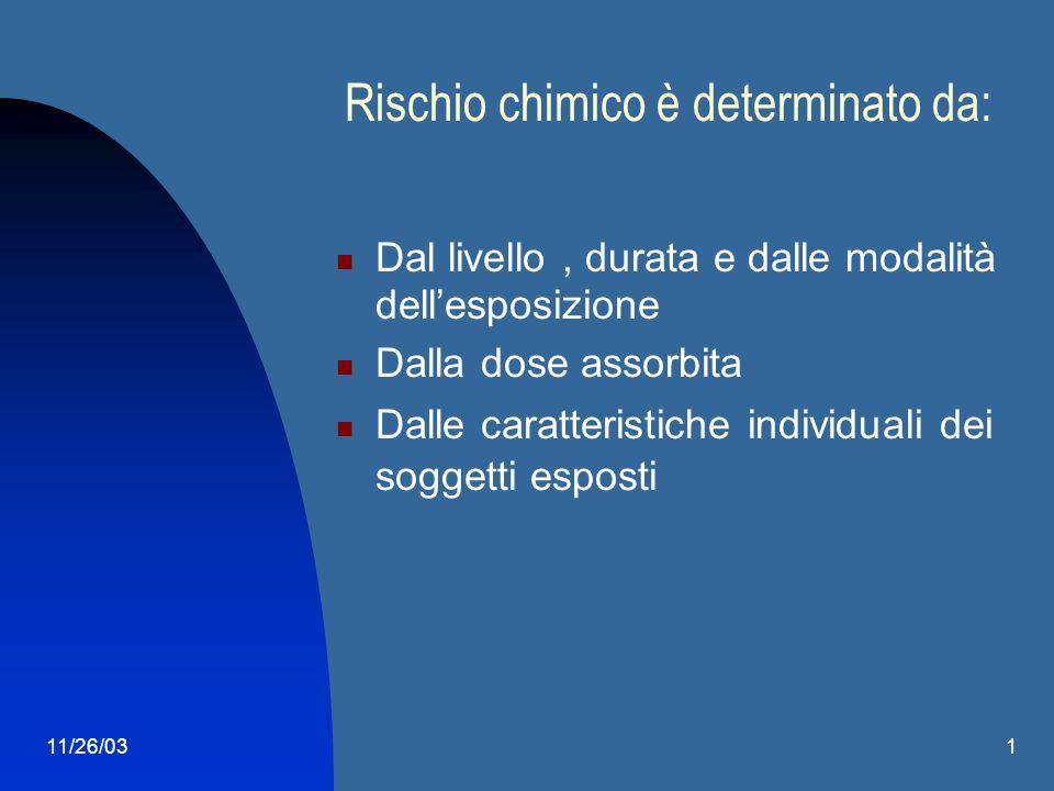 11/26/031 Effetti a medio/lungo termine Tossicità cronica Dermatiti Cancerogenesi Alterazioni genetiche