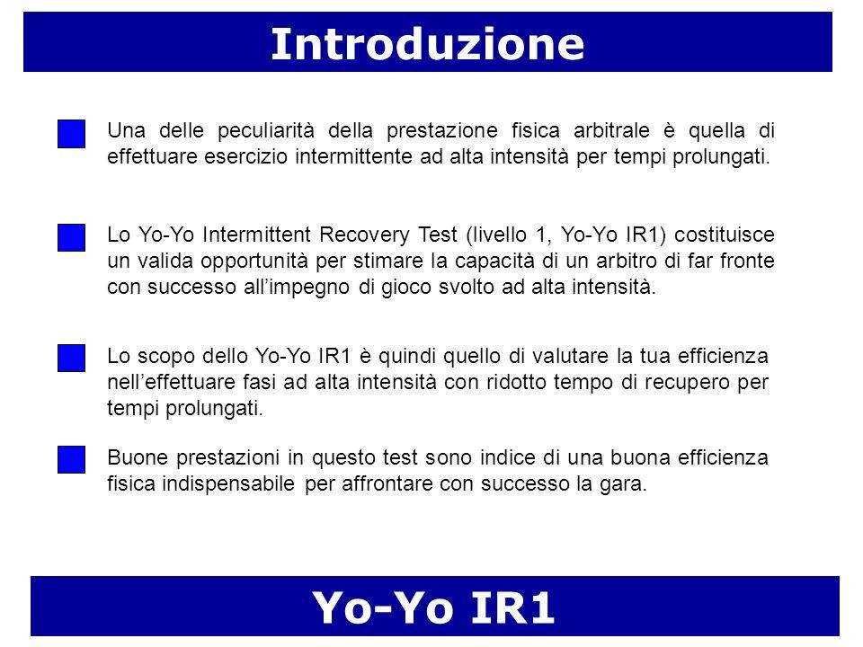 Introduzione Yo-Yo IR1 Una delle peculiarità della prestazione fisica arbitrale è quella di effettuare esercizio intermittente ad alta intensità per t