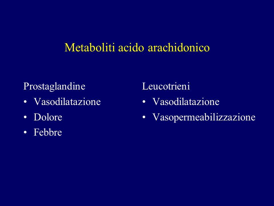 Metaboliti acido arachidonico Prostaglandine Vasodilatazione Dolore Febbre Leucotrieni Vasodilatazione Vasopermeabilizzazione