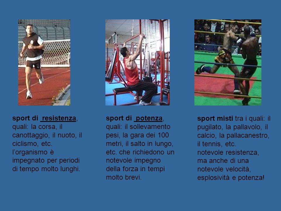 sport misti tra i quali: il pugilato, la pallavolo, il calcio, la pallacanestro, il tennis, etc. notevole resistenza, ma anche di una notevole velocit