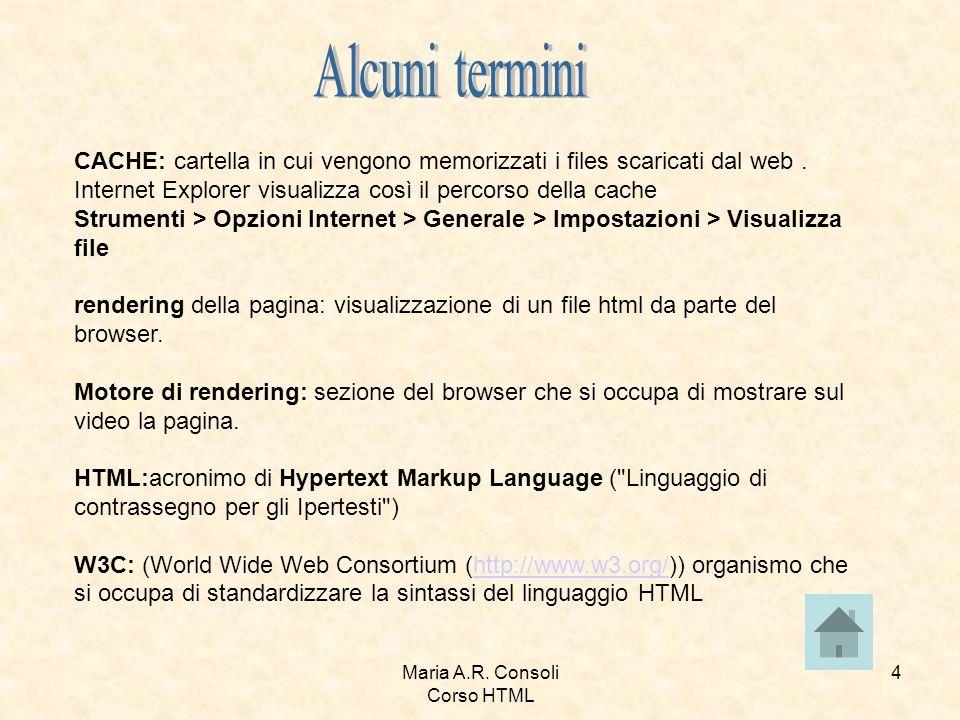 Maria A.R.Consoli Corso HTML 15 specifica il tipo di documento.