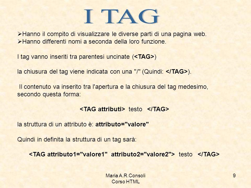 Maria A.R.Consoli Corso HTML 10 Alcuni particolari tag non hanno contenuto - perché ad esempio indicano la posizione di alcuni elementi (come il tag delle immagini) -, conseguentemente questi tag non hanno neanche chiusura.