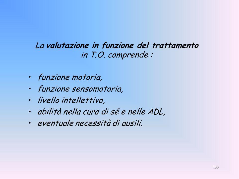 10 La valutazione in funzione del trattamento in T.O. comprende : funzione motoria, funzione sensomotoria, livello intellettivo, abilità nella cura di