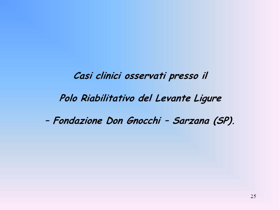 25 Casi clinici osservati presso il Polo Riabilitativo del Levante Ligure – Fondazione Don Gnocchi – Sarzana (SP).