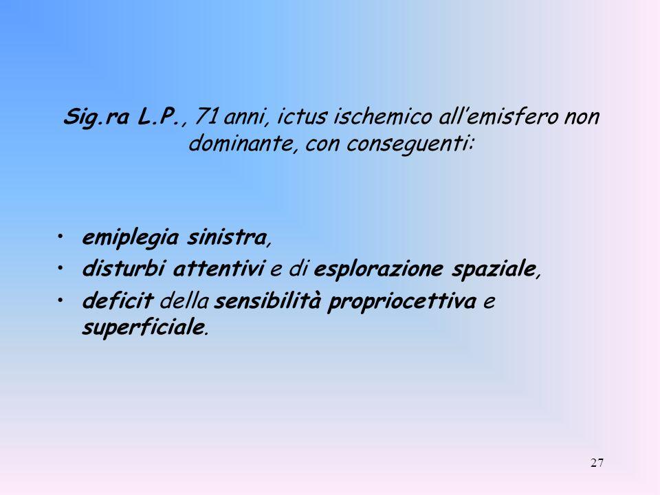 27 Sig.ra L.P., 71 anni, ictus ischemico allemisfero non dominante, con conseguenti: emiplegia sinistra, disturbi attentivi e di esplorazione spaziale