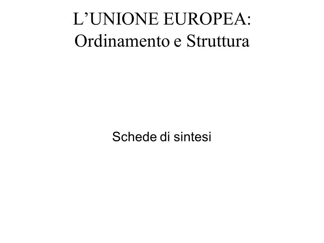 LUNIONE EUROPEA: Ordinamento e Struttura Schede di sintesi