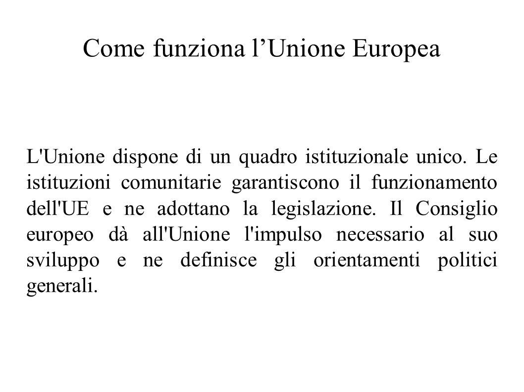 Come funziona lUnione Europea L'Unione dispone di un quadro istituzionale unico. Le istituzioni comunitarie garantiscono il funzionamento dell'UE e ne