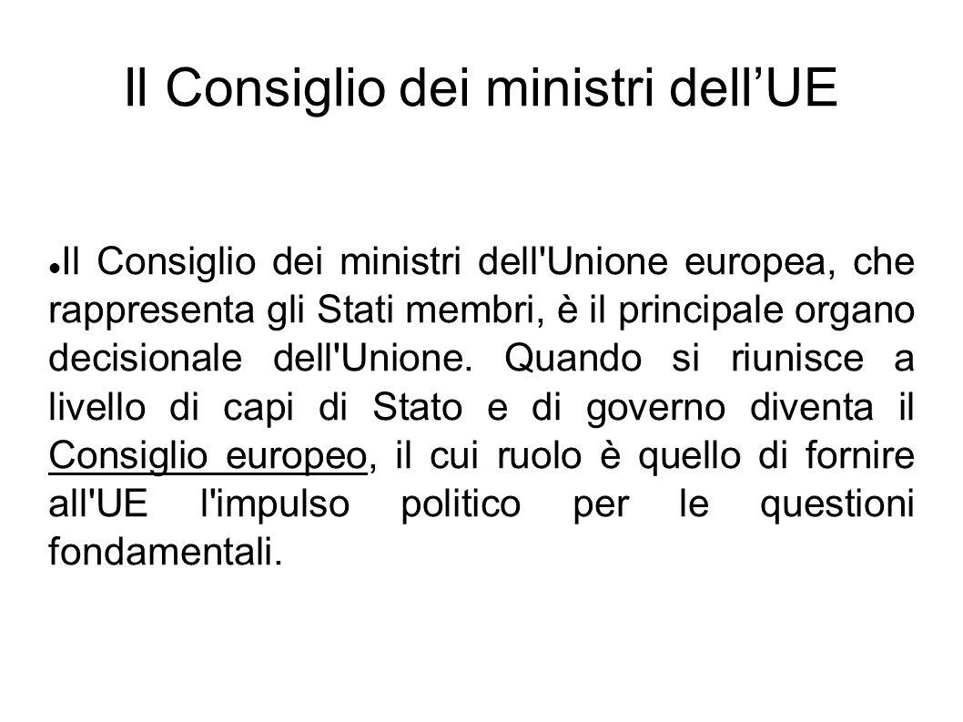 Il Consiglio dei ministri dellUE Il Consiglio dei ministri dell'Unione europea, che rappresenta gli Stati membri, è il principale organo decisionale d