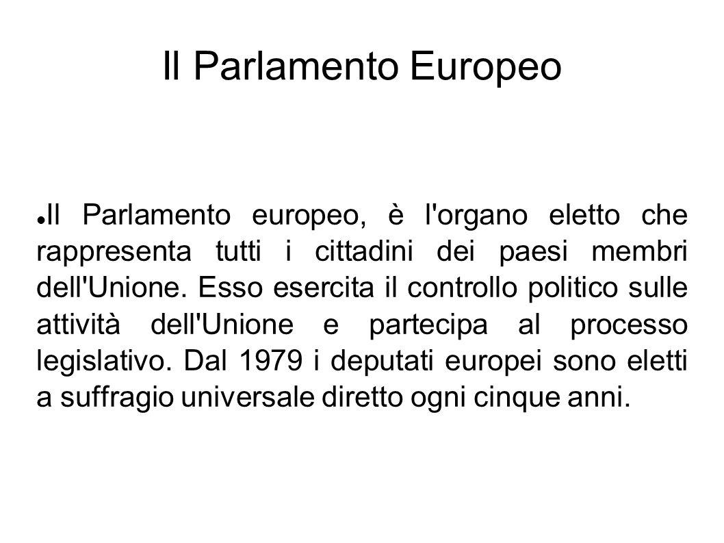 Il Parlamento Europeo Il Parlamento europeo, è l'organo eletto che rappresenta tutti i cittadini dei paesi membri dell'Unione. Esso esercita il contro