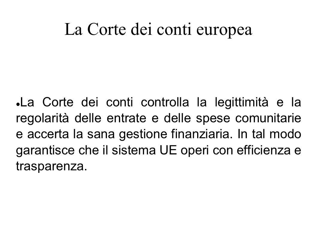 La Corte dei conti europea La Corte dei conti controlla la legittimità e la regolarità delle entrate e delle spese comunitarie e accerta la sana gesti