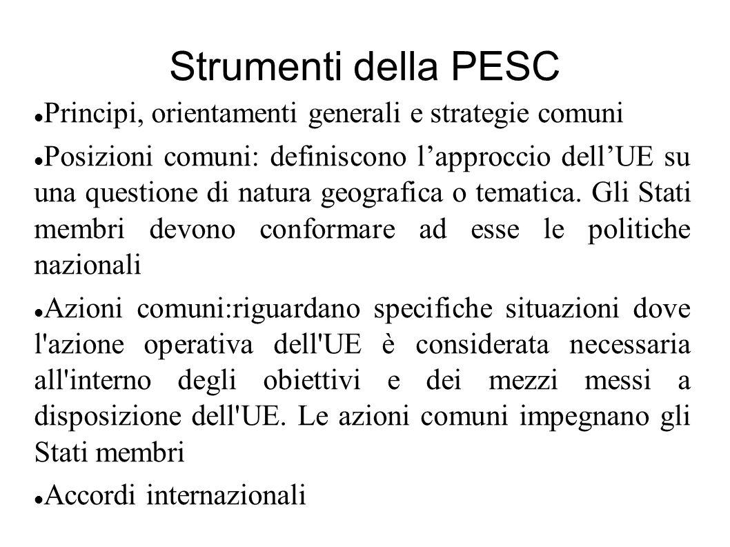 Strumenti della PESC Principi, orientamenti generali e strategie comuni Posizioni comuni: definiscono lapproccio dellUE su una questione di natura geo