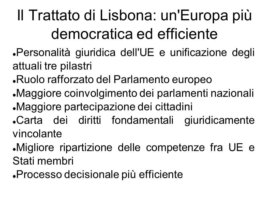 Il Trattato di Lisbona: un'Europa più democratica ed efficiente Personalità giuridica dell'UE e unificazione degli attuali tre pilastri Ruolo rafforza