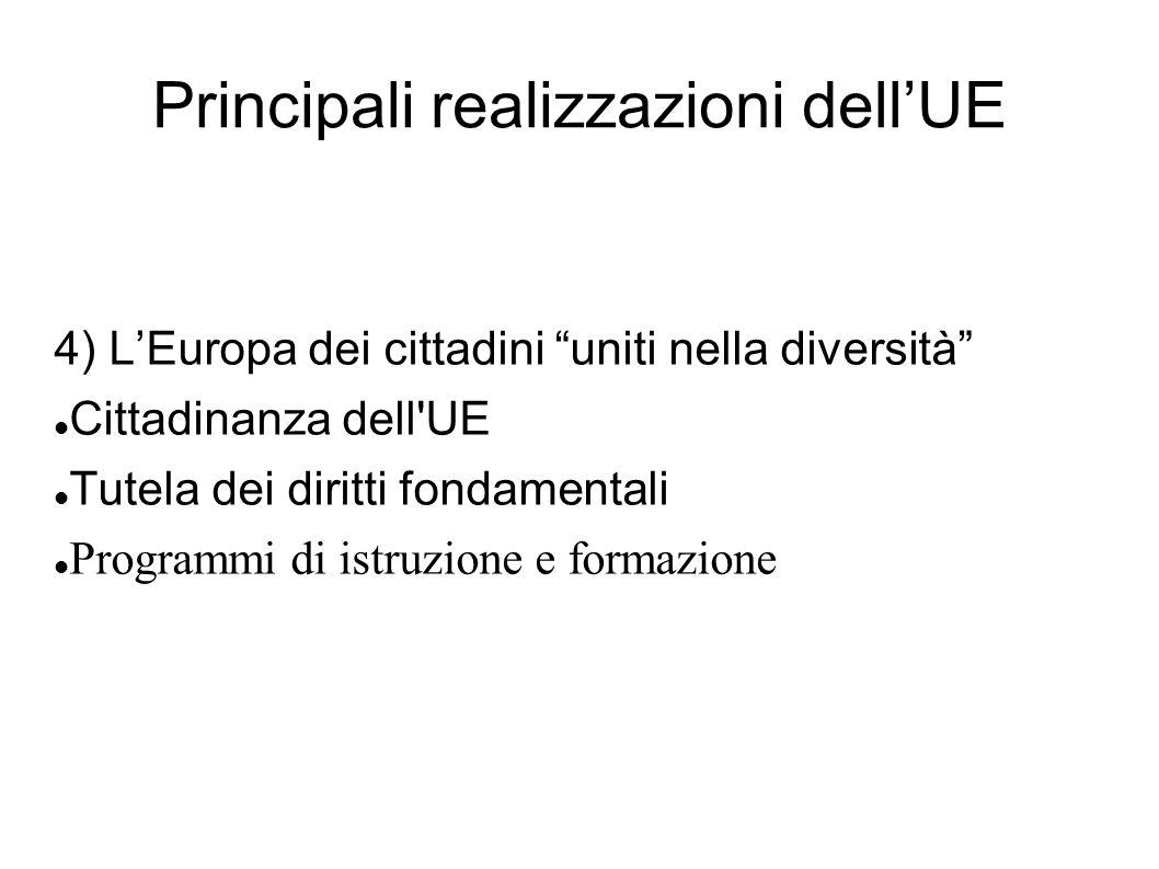Principali realizzazioni dellUE 4) LEuropa dei cittadini uniti nella diversità Cittadinanza dell'UE Tutela dei diritti fondamentali Programmi di istru