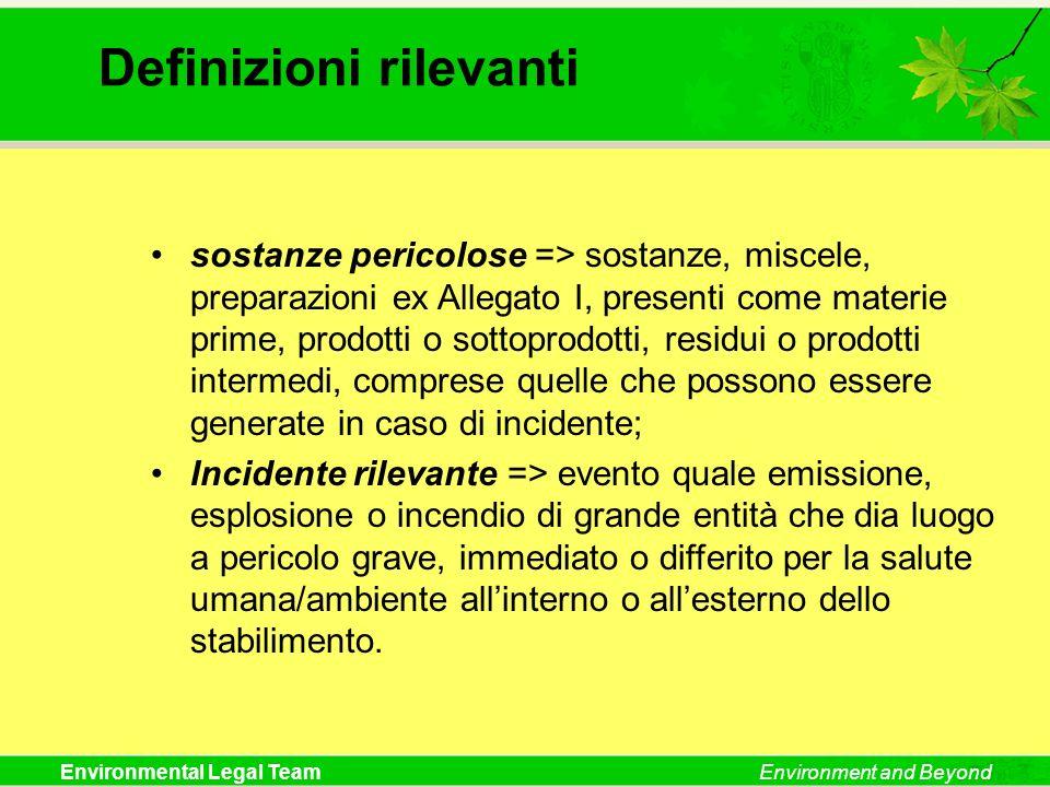 Environmental Legal TeamEnvironment and Beyond Definizioni rilevanti sostanze pericolose => sostanze, miscele, preparazioni ex Allegato I, presenti co