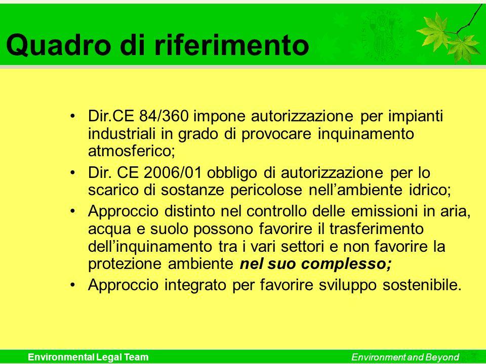 Environmental Legal TeamEnvironment and Beyond Quadro di riferimento Dir.CE 84/360 impone autorizzazione per impianti industriali in grado di provocar