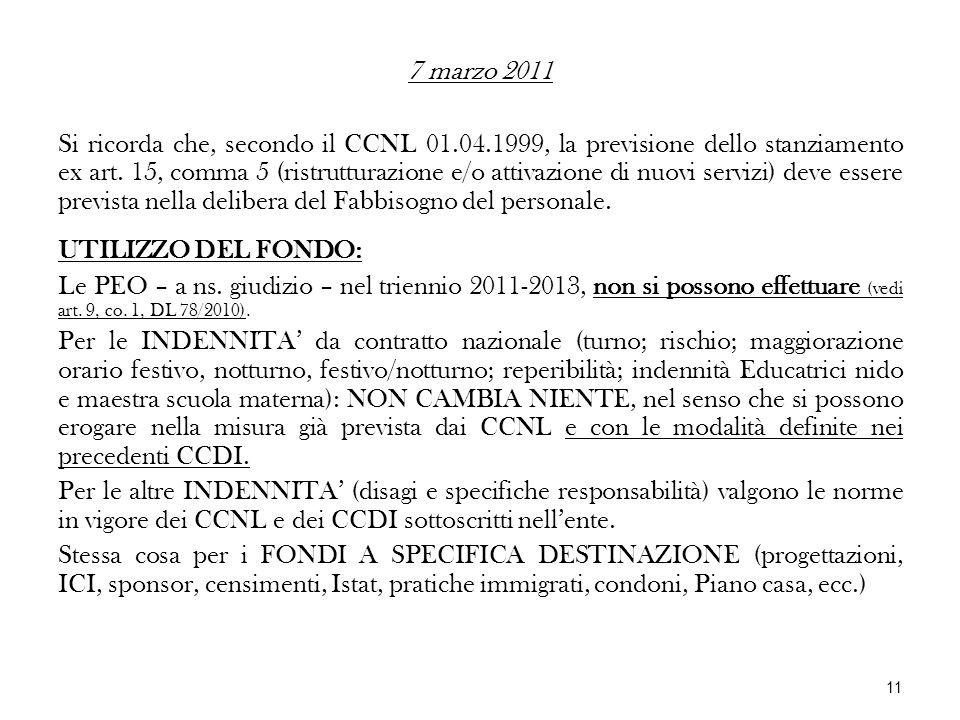 7 marzo 2011 Si ricorda che, secondo il CCNL 01.04.1999, la previsione dello stanziamento ex art. 15, comma 5 (ristrutturazione e/o attivazione di nuo