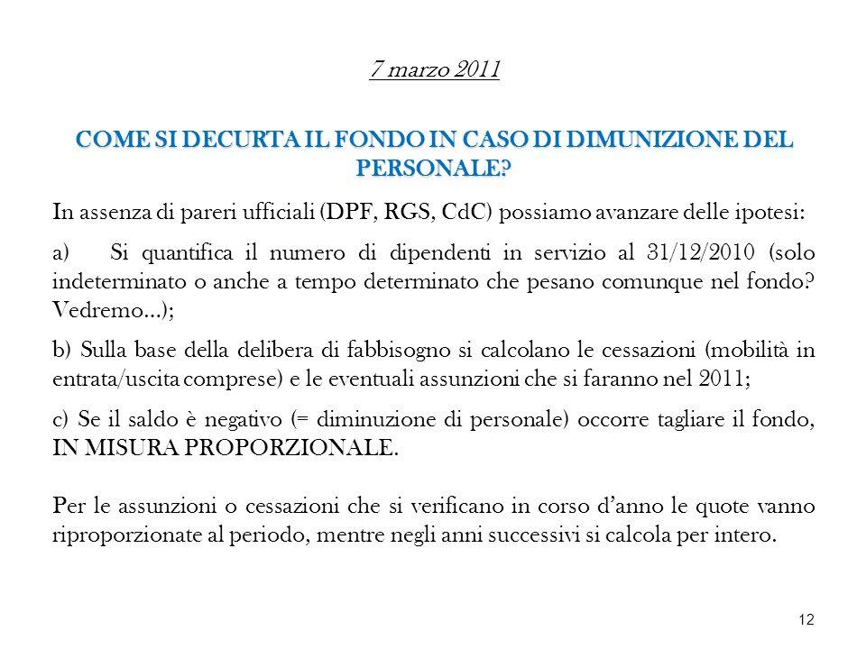 7 marzo 2011 COME SI DECURTA IL FONDO IN CASO DI DIMUNIZIONE DEL PERSONALE? In assenza di pareri ufficiali (DPF, RGS, CdC) possiamo avanzare delle ipo
