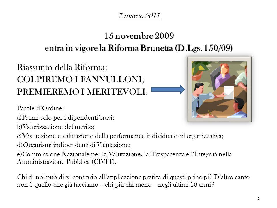 15 novembre 2009 entra in vigore la Riforma Brunetta (D.Lgs. 150/09) Riassunto della Riforma: COLPIREMO I FANNULLONI; PREMIEREMO I MERITEVOLI. Parole