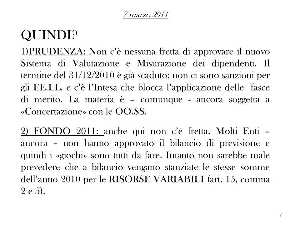 7 marzo 2011 QUINDI? 1)PRUDENZA: Non cè nessuna fretta di approvare il nuovo Sistema di Valutazione e Misurazione dei dipendenti. Il termine del 31/12