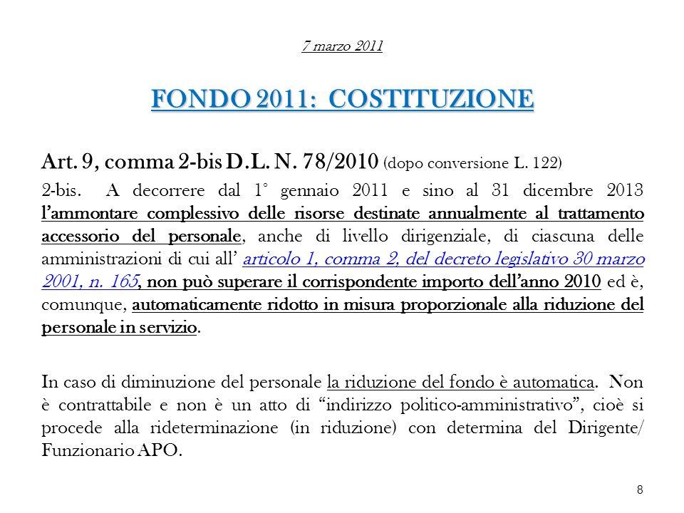 7 marzo 2011 FONDO 2011: COSTITUZIONE Art. 9, comma 2-bis D.L. N. 78/2010 (dopo conversione L. 122) 2-bis. A decorrere dal 1° gennaio 2011 e sino al 3