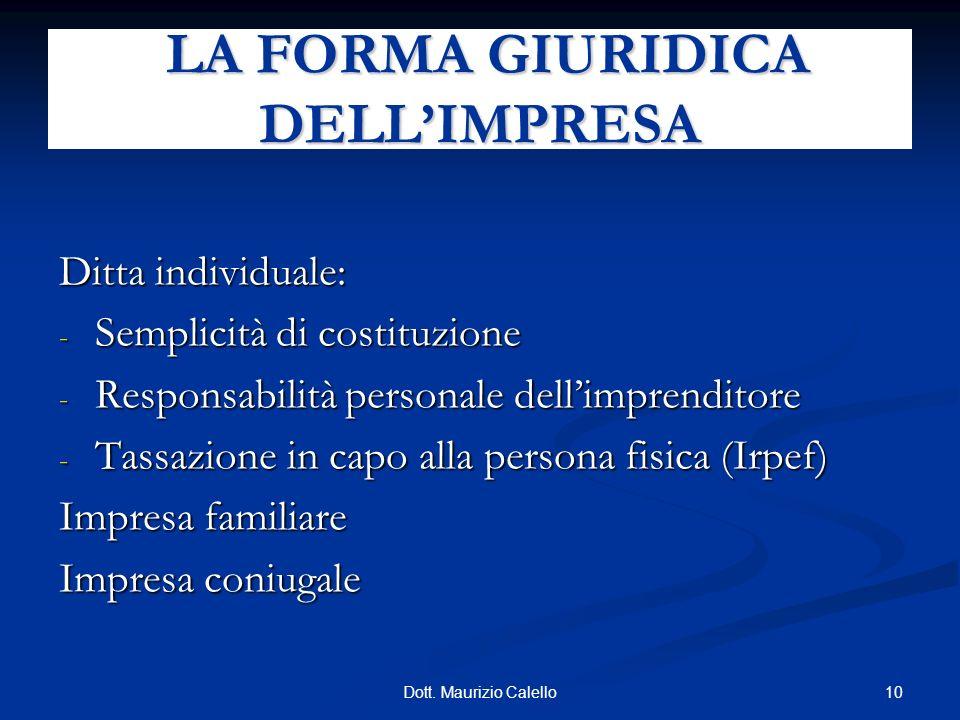 10Dott. Maurizio Calello Ditta individuale: - Semplicità di costituzione - Responsabilità personale dellimprenditore - Tassazione in capo alla persona