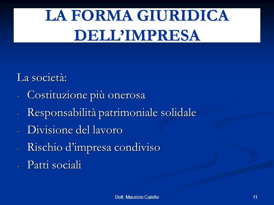 11Dott. Maurizio Calello La società: - Costituzione più onerosa - Responsabilità patrimoniale solidale - Divisione del lavoro - Rischio dimpresa condi