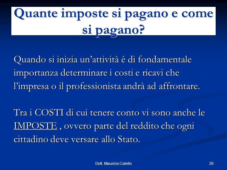 20Dott. Maurizio Calello Quando si inizia unattività è di fondamentale importanza determinare i costi e ricavi che limpresa o il professionista andrà
