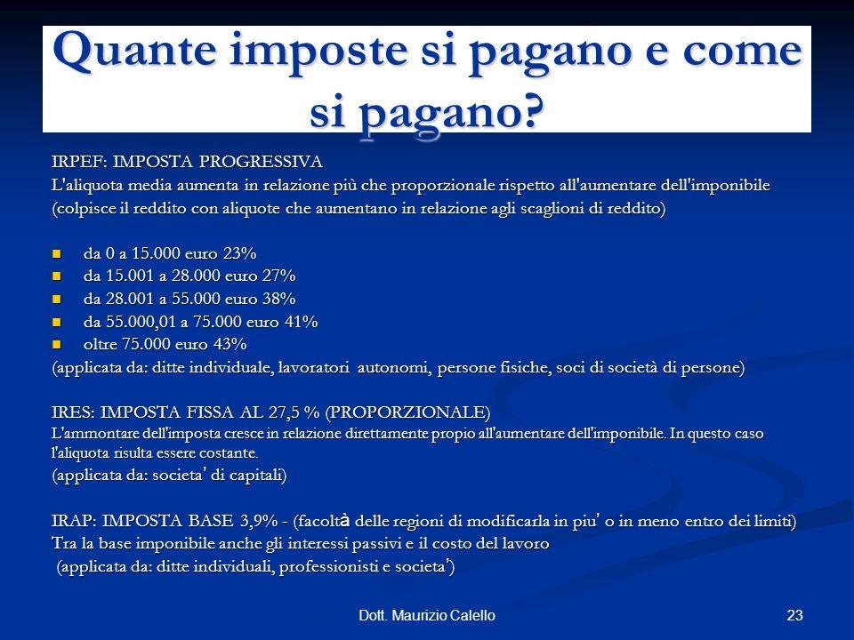23Dott. Maurizio Calello IRPEF: IMPOSTA PROGRESSIVA L'aliquota media aumenta in relazione più che proporzionale rispetto all'aumentare dell'imponibile