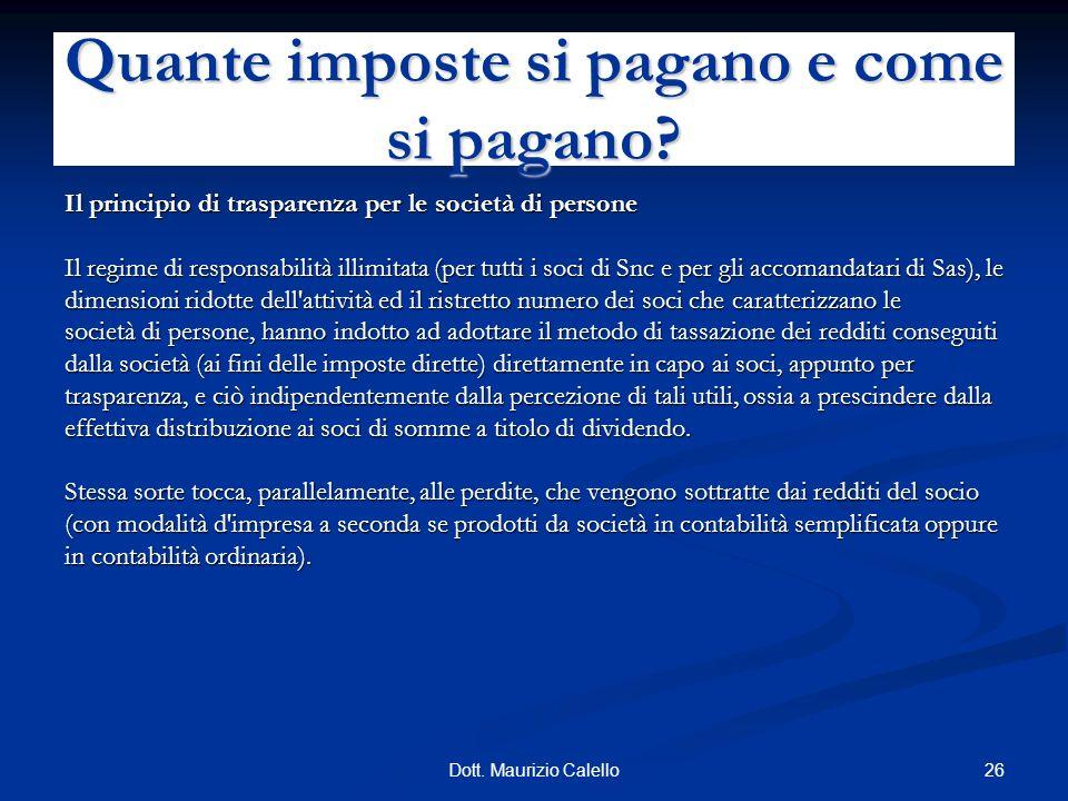 26Dott. Maurizio Calello Il principio di trasparenza per le società di persone Il regime di responsabilità illimitata (per tutti i soci di Snc e per g