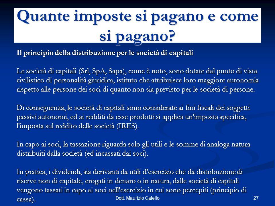 27Dott. Maurizio Calello Il principio della distribuzione per le società di capitali Le società di capitali (Srl, SpA, Sapa), come è noto, sono dotate