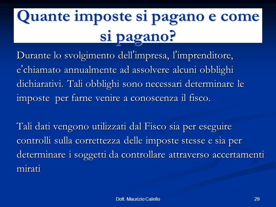 29Dott. Maurizio Calello Durante lo svolgimento dell impresa, l imprenditore, e chiamato annualmente ad assolvere alcuni obblighi dichiarativi. Tali o