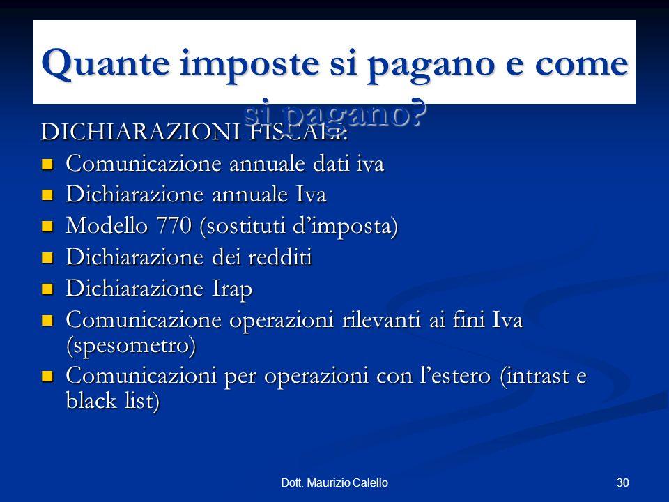 30Dott. Maurizio Calello DICHIARAZIONI FISCALI: Comunicazione annuale dati iva Comunicazione annuale dati iva Dichiarazione annuale Iva Dichiarazione