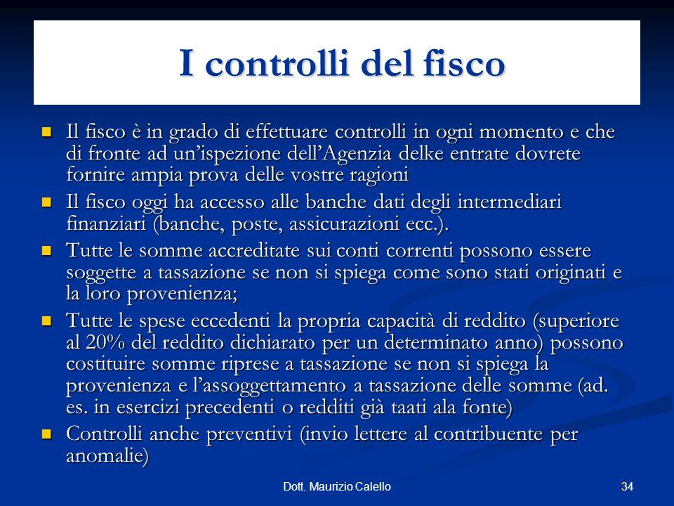 34Dott. Maurizio Calello Il fisco è in grado di effettuare controlli in ogni momento e che di fronte ad unispezione dellAgenzia delke entrate dovrete