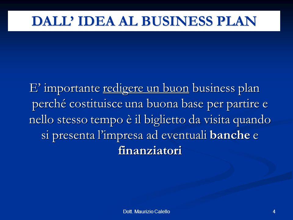 4Dott. Maurizio Calello E importante redigere un buon business plan perché costituisce una buona base per partire e nello stesso tempo è il biglietto