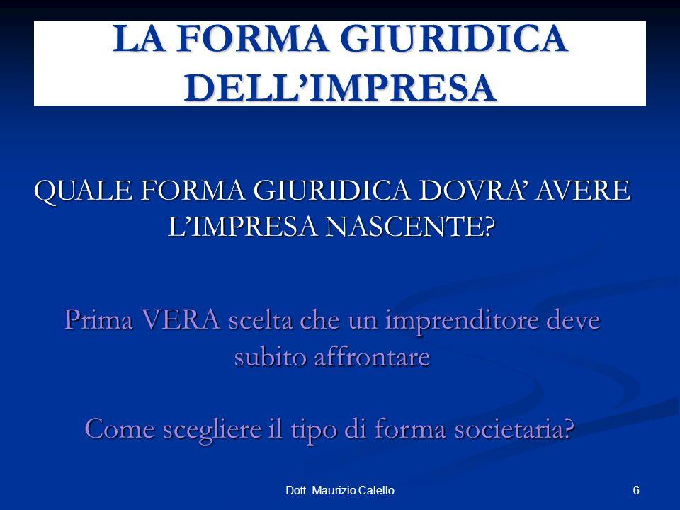 17Dott.Maurizio Calello Altre forme di finanziamento: Venture Capitalist (es.