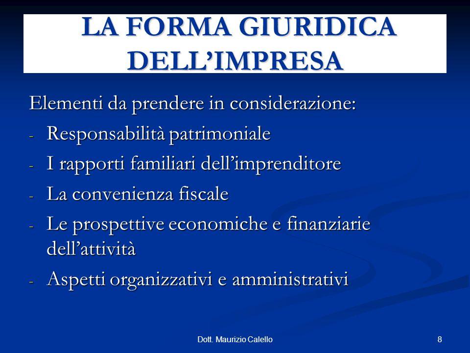 8Dott. Maurizio Calello Elementi da prendere in considerazione: - Responsabilità patrimoniale - I rapporti familiari dellimprenditore - La convenienza